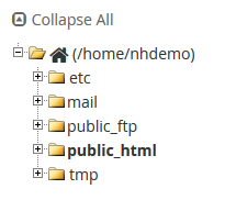 cPanel File Manager Directories
