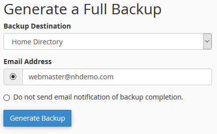 Full cPanel Backup